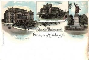 Budapest Fővárosi vigadó, Központi pályaudvar, Petőfi szobor, Louis Glaser litho (EK)