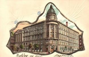 1899 Budapest VIII. Nemzeti színház, díszített litho mechanikus lap