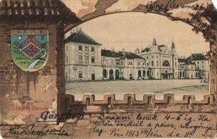 Pécs, Indóház, Vasútállomás, címeres litho lap. Domján I. kiadása (EM)