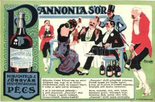 Pannonia Sör, Hirschfeld S. Sörgyár Rt., Pécs / Hungarian beer advertisement, Posner, litho s: Schneider (EK)