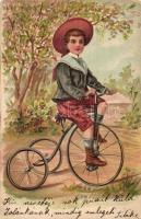 Cycling boy, litho (fa)