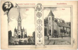Budapest XX. Erzsébetfalva, Fogadalmi templom most és régen. Art Nouveau. Lovrich Béla fényképész kiadása
