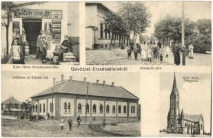 Budapest XX. Erzsébetfalva, Sebestyén utca, Plébánia és Kántor lak, Római katolikus templom. Kern János fűszerkereskedése és saját kiadású lapja (r)
