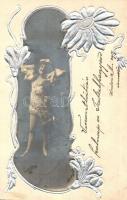 Lady, metallic decorated floral Emb. postcard (EK)