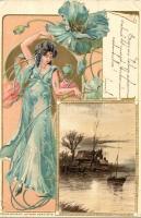 Lady with flowers, Edgard Schmidt Serie 8072, golden decorated floral Art Nouveau Emb. litho (EK)