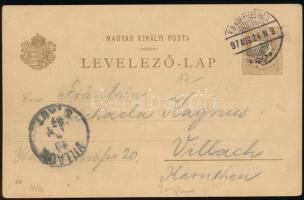1896 2kr Millenniumi díjjegyes futott levelezőlap: Beczko - Trencsén - Sztrecsno
