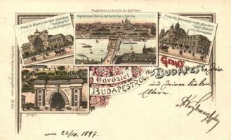 1897 (Vorläufer!) Budapest, Nyugati és Keleti pályaudvar, Alagút, Carl Otto Hayd No. 395. floral litho