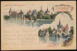 1896 2kr Millenniumi díjjegyes futott levelezőlap: Vajdahunyad vár déli és nyugati oldal