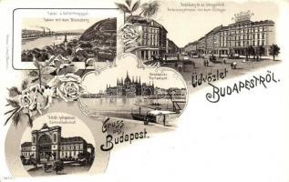 Budapest, Keleti pályaudvar, Tabán és Gellérthegy, Andrássy út az Oktogon térrel, Ottmar Zieher No. 3855. floral litho