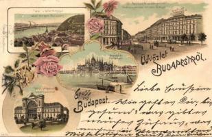 Budapest, Keleti pályaudvar, Tabán és Gellérthegy, Andrássy út az Oktogon térrel, Országház Ottmar Zieher No. 6855. floral litho