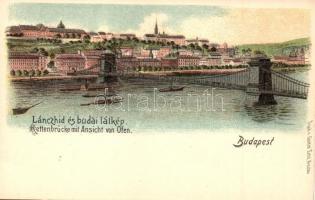 Budapest, Lánchíd és Budai látkép, Gustav Ertel litho