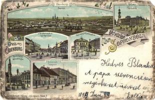 1899 Sopron, Várkerület,Városháza. Schwidernoch Károly Art Nouveau litho (EM)