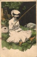 Reading lady in a hat with a fishing rod, Simplicissimus-Karte Serie II. No. 4 s: Reznicek (EB)