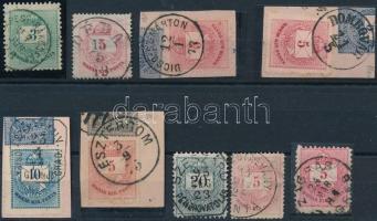 9 db krajcáros bélyeg 1 körös bélyegzéssel (595p)