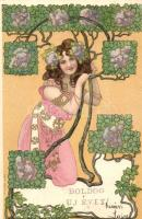Boldog Új Évet! / New Years greeting card, golden decorated floral Art Nouveau lady, Serie Sphinx litho (fa)