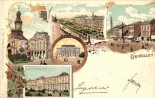 Sopron, Városház, Deák tér, Honvéd főreáliskola. L. Kummer, floral Art Nouveau litho (kis szakadás / small tear)
