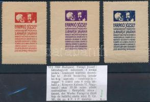 1906 Faragó József 3 árvája javára 3 db klf színű adománybélyeg