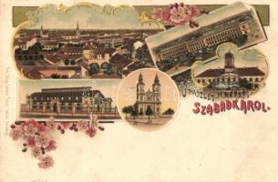 Szabadka, Subotica; Városháza, vasútállomás, templom / town hall, railway station, church, Art Nouveau, floral, litho (ragazstónyom / gluemark)