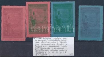 1906 Országos Vas- és Fémipari kiállítás 4 db klf levélzáró bélyege
