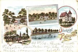 1899 Palics, Palic; Villa, strand. Kiadja Heumann Mór / villa, beach, floral, Art Nouveau litho (fa)