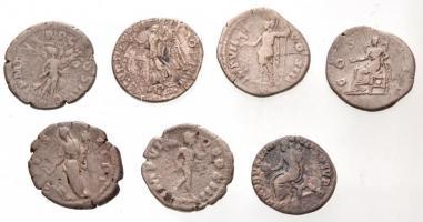 7db-os vegyes római denár tétel, közte hamis is, benne még Róma / Marcus Aurelius 174. Denár Ag (2,97g) T:2,2-,3 7pcs of various Roman Denarii, with fake pieces; including Rome / Marcus Aurelius 174. Denarius Ag M ANTONINVS AVG TR P XXVIII / IMP VII COS III (2,97g) C:XF,VF,F