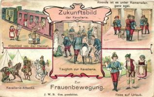 Zur Frauenbewegung; Zukunftsbild der Kavallerie / Womens movement, the future image of the cavalry, reversed roles, women soldiers, humorous J. W. B. litho (EB)