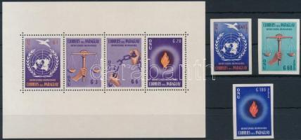 1960 Emberi jogok fogazott blokk Mi 3 + vágott sor Mi 861-863