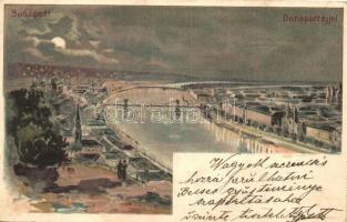 1899 Budapest, Duna part éjjel, Kosmos S. IX. litho (EK)