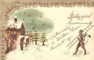 Boldog Új Évet! / New Years greeting card with chimney sweeper, snowy landscape, golden decorated floral Emb. litho (vágott / cut)