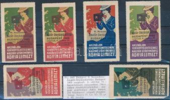 1905 II. Nemzetközi Amatőr fényképkiállítás, Budapest 6 db klf színű levélzáró