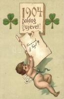 Boldog Új Évet! / New Years greeting card with child and clovers, golden decorated Emb. litho (tűnyomok / pinholes)
