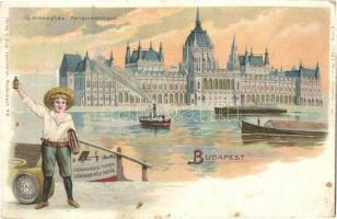 Budapest I. Országház, Leonhardi-féle tinta reklámlapja / ink advertisement. Verlag v. Aug. Leonhardi, litho (EK)