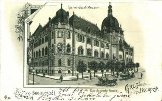 Budapest IX. Iparművészeti Múzeum, floral, litho (EK)