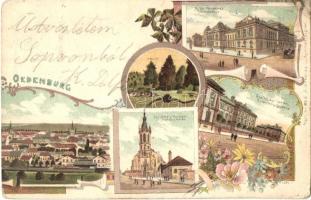 Sopron, Oedenburg; Törvényház, Gyalogsági laktanya, Szent Mihály templom, floral, Art Nouveau litho (Rb)