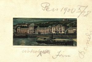 Budapest II. Szent Lukács-fürdő gőzhajóval este, litho