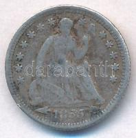 Amerikai Egyesült Államok 1855 1/2d Ag Seated Liberty T:3 ph. USA 1855 1/2 Dime Ag Seated Liberty C:F edge error Krause KM#76