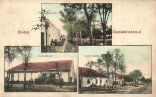 Mezőkovácsháza, Gyógyszertár, szövetkezet üzlete, utcarészlet (EK)
