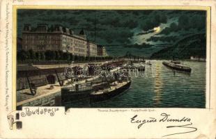 Budapest V. Ferenc József rakpart este. Hans Nachbargauer litho