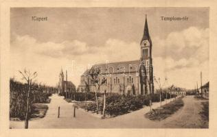 Budapest XIX. Kispest, Templom tér, kiadja Thienschmiedt E. (ázott sarkak / wet corners)
