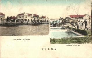 Tolna, Lovassági laktanya, gátugrató lovakat oktató katonák a Ferenc József úton (EK)