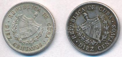 Kuba 1948-1949. 10c Ag (2x) T:2 patina Cuba 1948-1949. 10 Centavos Ag (2x) C:XF patina Krause KM#A12