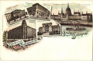 Budapest, Nemzeti Múzeum és Színház, Műegyetem, Központi pályaudvar. Ottmar Zieher litho