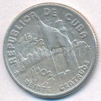 Kuba 1952. 20c Ag A köztársaság ötvenedik éve T:2 Cuba 1952. 20 Centavos Ag 50th Year of Republic C:XF Krause KM#24