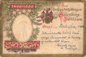 1400-1900 Zum Fünfthundertjährigen Gutenberg-Jubiläum / 500th anniversary of Johannes Gutenberg. Emb. floral, litho (EB)