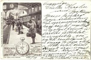 Reich Mór és fia óra és ékszer üzletének grafikai reklámlapja. Vasútállomás belseje (EK)