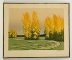 Olvashatatlan jelzéssel: Fák az útnál. Színes linó, papír, üvegezett fém keretben, 40×50 cm