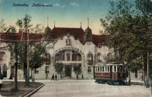 Szabadka, Subotica; Indóház utca, vasútállomás, villamos / railway station, street, tram (fa)