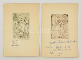 Bartha Tibor: 2 db ex libris. Rézkarc. Tollal jelzett. Grafika mérete: 6x8 cm