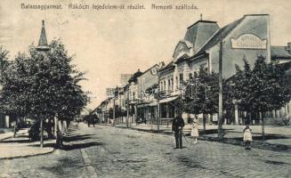 Balassagyarmat, Rákóczi fejedelem út, Nemzeti szálloda, Székely papíráruház kiadása (vágott / cut)
