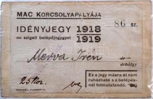 1918-19 Fényképes korcsolya jegy a MAC korcsolyapályájára